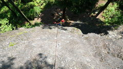 Rock Climbing Photo: Midway point at tree anchor.