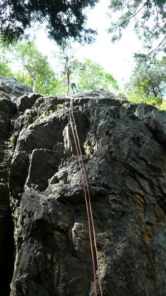 Rock Climbing Photo: The rappel down.