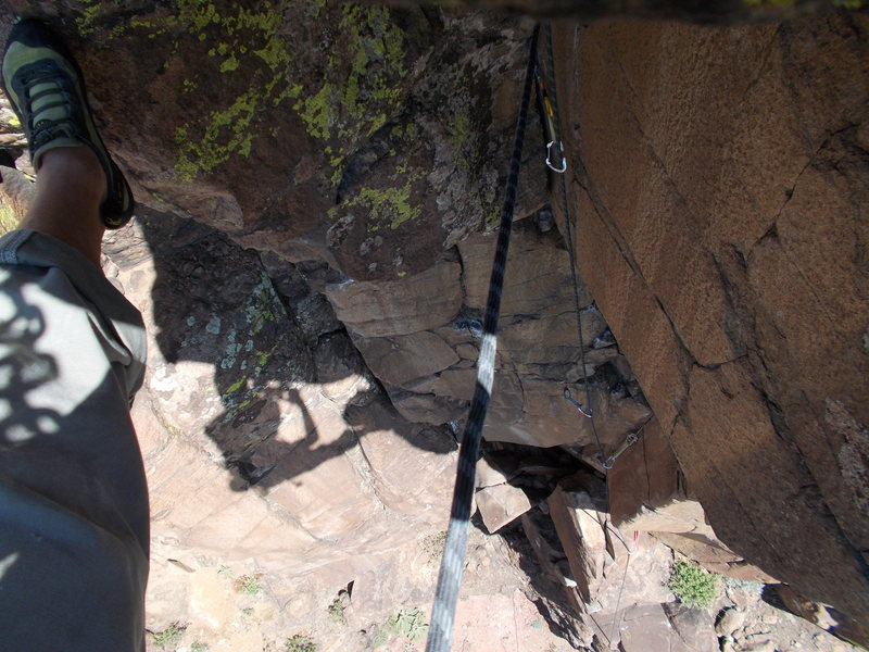 "Rock Climbing Photo: Looking down ""Child Abuse"" after roof, f..."