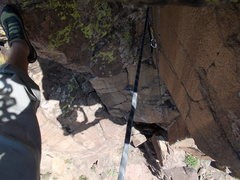 """Rock Climbing Photo: Looking down """"Child Abuse"""" after roof, f..."""