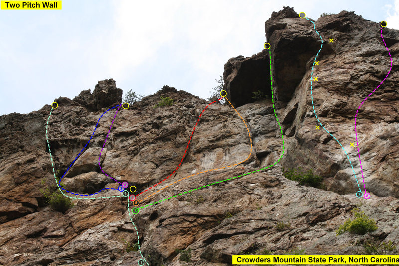 Rock Climbing Photo: Two Pitch Wall   1)Two Pitch (5.4) trad  2)Ditch T...