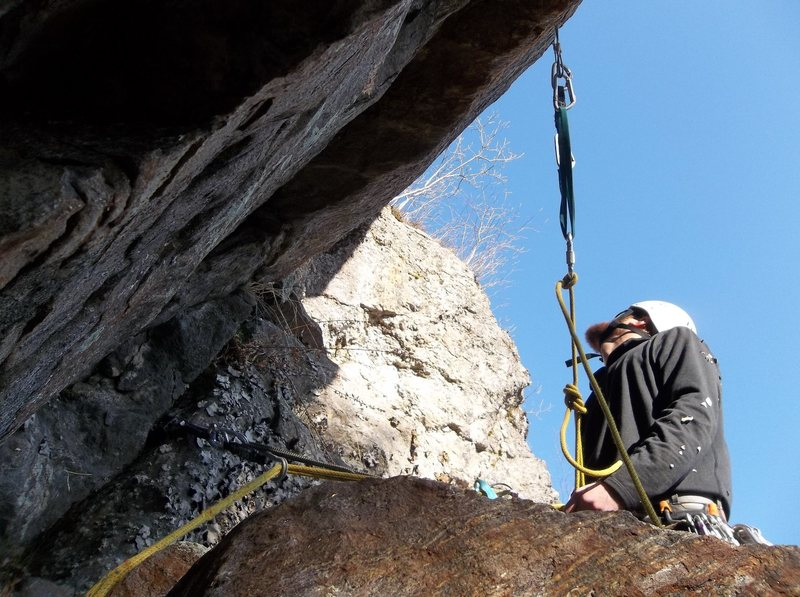 Setting up for belay.  Photo by Bradley White.