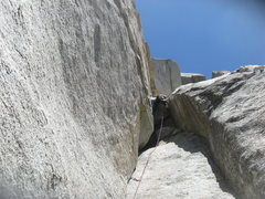Rock Climbing Photo: Nathan Fitzhugh going over the 3rd pitch roof.