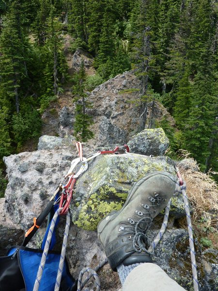 Adam's feet, looking down the route from the top. As depicted, we did this in our approach shoes. Rock shoes are overkill:-)