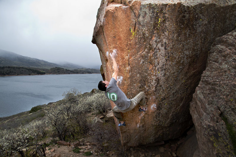 Rock Climbing Photo: Ian Dory working Moon Arete on a murky day.