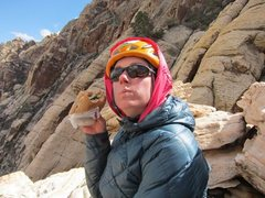 Rock Climbing Photo: Polly eating lunch at the top of lotta balls