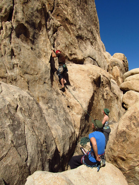 """Rock Climbing Photo: leading first pitch of the day - """"rock-a-lot&..."""
