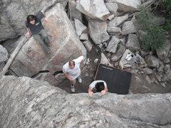 Rock Climbing Photo: Top down view of Greg on Shelf Arete