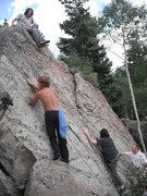 Rock Climbing Photo: Fun easy climbing on an unnamed boulder