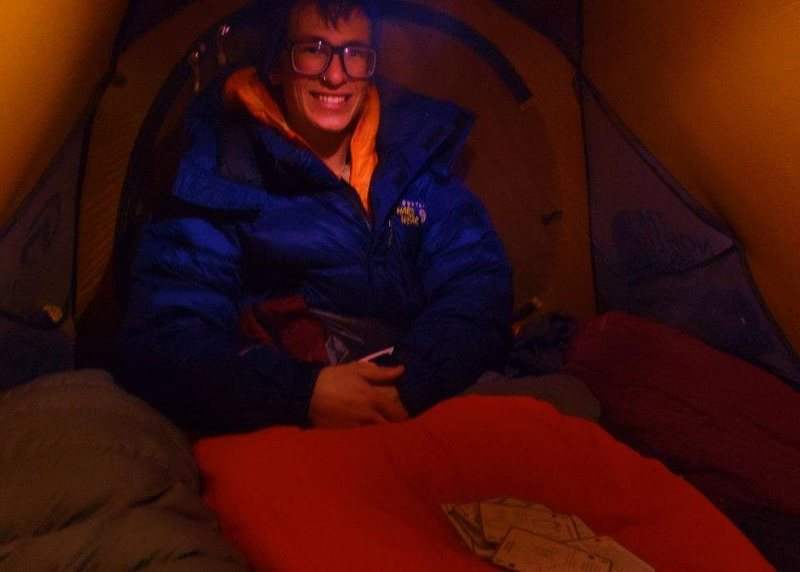 Rock Climbing Photo: Me inside a tent, it was quite warm