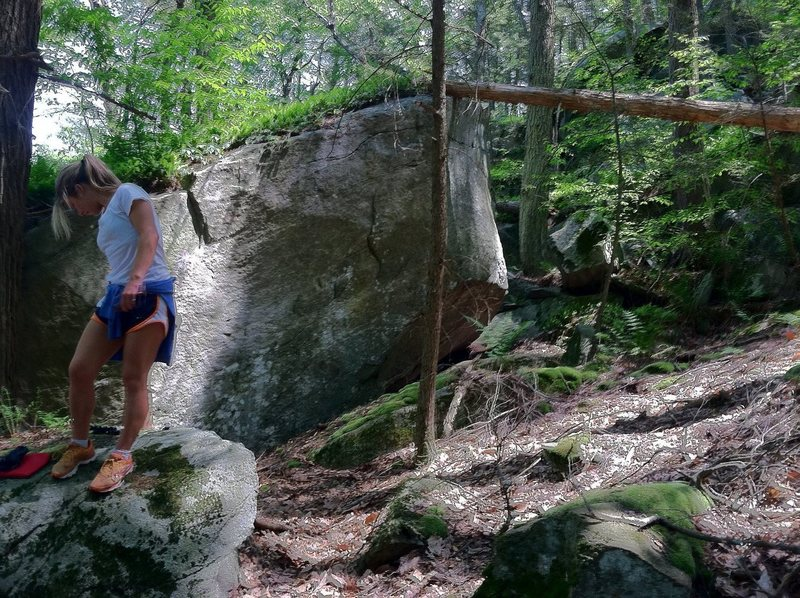 Rock Climbing Photo: two or three hard crimpy problems on the boulder b...