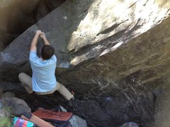 Rock Climbing Photo: Mike matching the good hold and getting ready to d...