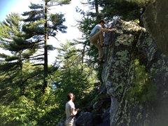 Rock Climbing Photo: Draper tops out Squirrel Arete