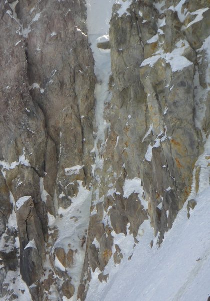 Rock Climbing Photo: Zoom on the route. Bulge could be seen half way up...