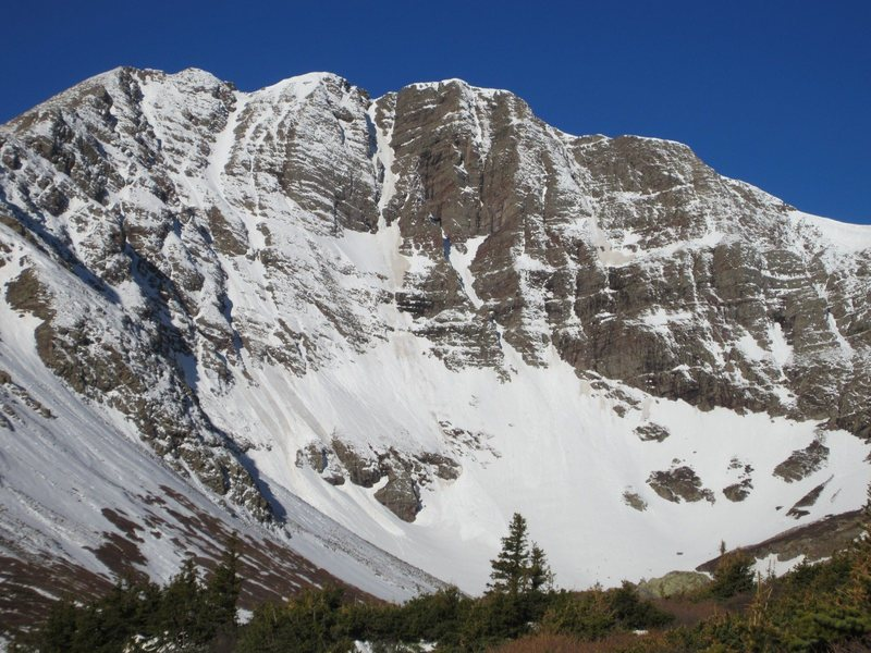 Fluted Peak's east face.