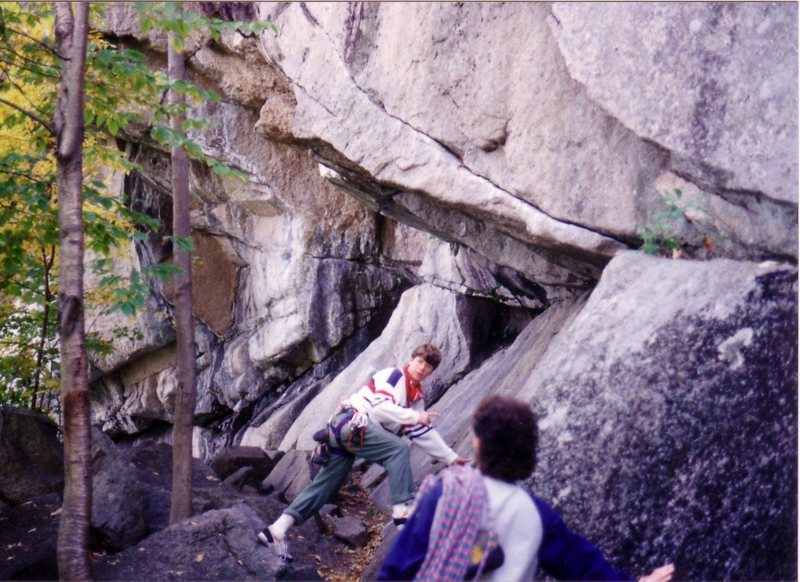 Molson's Madness back in October 1988. It's the clean obvious upward sloping crack that starts a boulder move above the center climber. Brandeis Outdoors and Mountain Club outing.