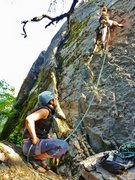 Rock Climbing Photo: Colleen starting the day on Remedy.