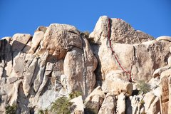 Rock Climbing Photo: Crack Highlighted in Red. Note the fixed anchors w...