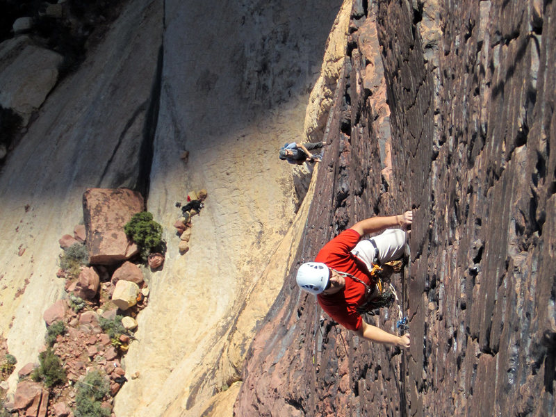 Rock Climbing Photo: Leading the ultra-classic plates on Armatron (5.9)...