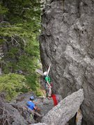 Rock Climbing Photo: Start on top of the higher block shown here.  Gett...