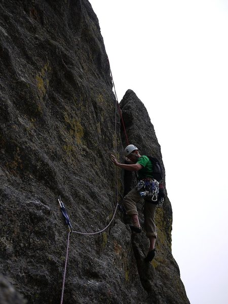 Rock Climbing Photo: Following the second pitch.