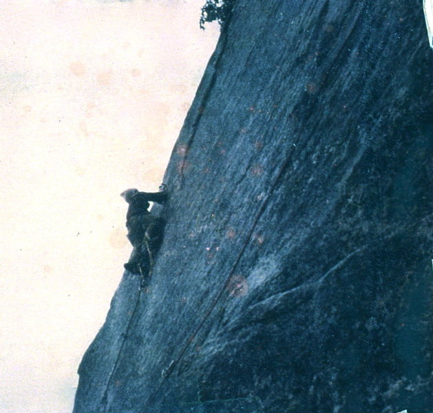 Keith Leaman on winter ascent of 'Black Face' (left of 'Conveniently Sexy') 5.9 plus A1-one or two rurps/knifeblades, 1970.
