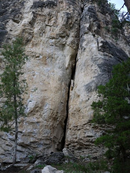 Rope on the right is hanging on this route.