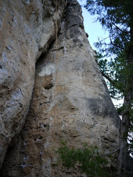 This route climbs up the face to the arete.