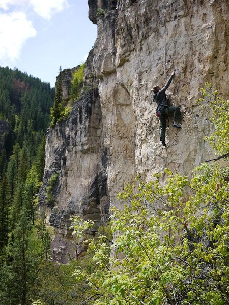 Kristin climbing this fun route.