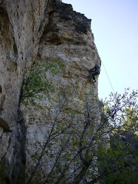 Rock Climbing Photo: Kristin working the crux move on this stellar rout...