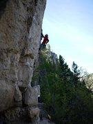 Rock Climbing Photo: Higher on battlecry, SteveZ redpointing.