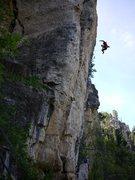 Rock Climbing Photo: Airtime prior to sending, SteveZ on battlecry.