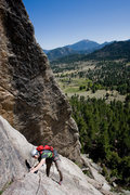 Rock Climbing Photo: Traverse on the first pitch. This ended up being t...