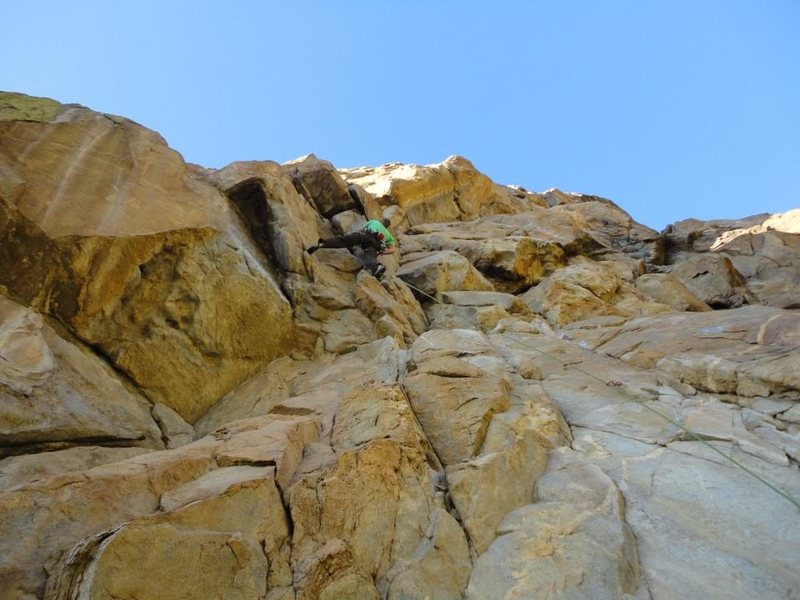 "Randy Leavitt leading FA of ""95 Degrees In The Sun"" 5.11d, photo by Chris Hubbard"