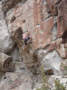 "Rock Climbing Photo: My crux on the redpoint (6'4"" made top easier..."