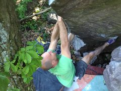 Rock Climbing Photo: Mike working the toe hook to transfer onto the fac...