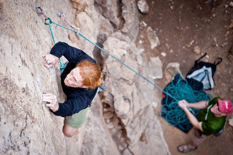 Rock Climbing Photo: Adam bearing down on the small stuff of The Gem (S...