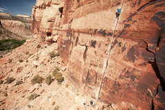Rock Climbing Photo: Luke Walker on Generic Crack, from the heli