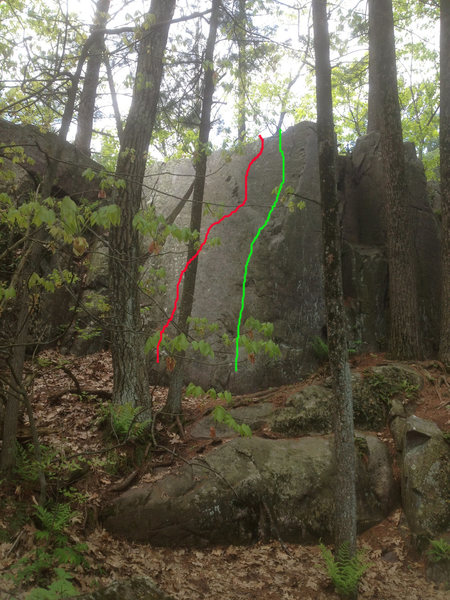 The green line is the climb, the red line is a possible kinda contrived project, but hard slab climbing for sure.