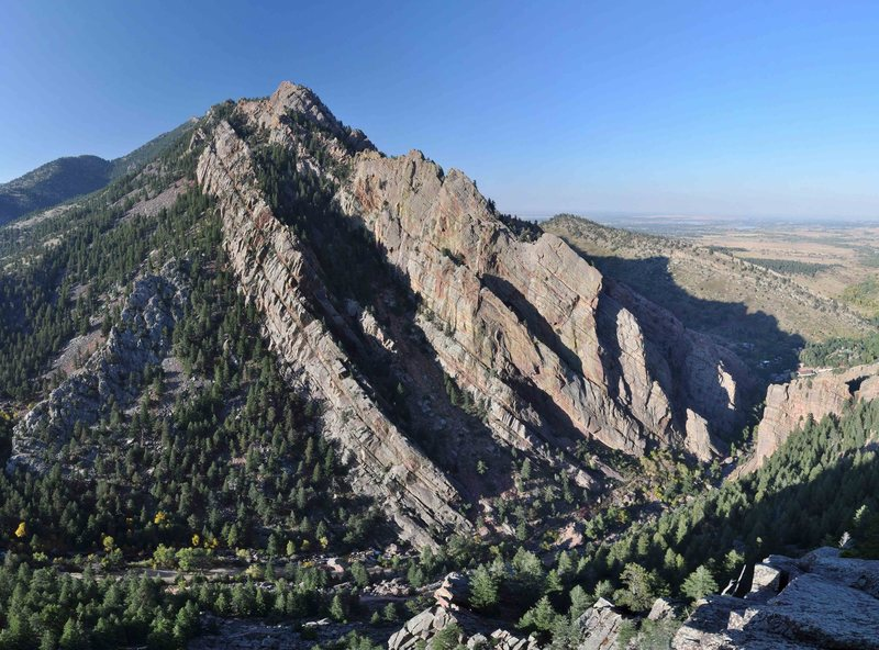 Photomosaic of Eldorado Canyon.   Shot in late afternoon from the top of Upper Peanuts using a Nikon D90 and stitched in Autopano Pro.