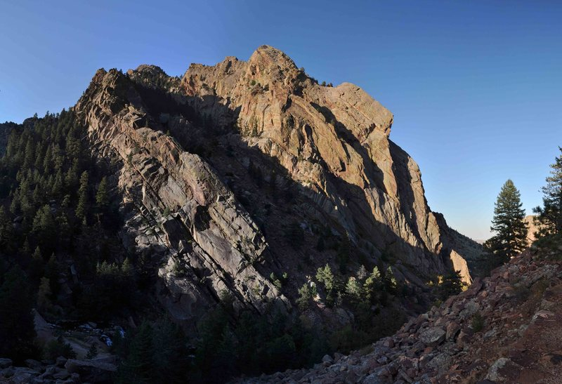 Photomosaic of the West Ridge and Redgarden shot at sunset from the Fowler Trail.  Stitching and post processing in AutoPano Pro.