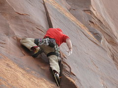 Rock Climbing Photo: shaking out at the crux..