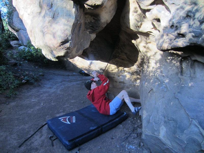"Rock Climbing Photo: Mo working the thuggish start of ""Standing On..."