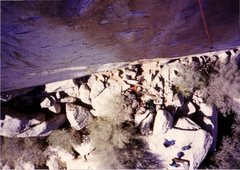 Rock Climbing Photo: Looking down P1 of Solid Gold, March 1990.