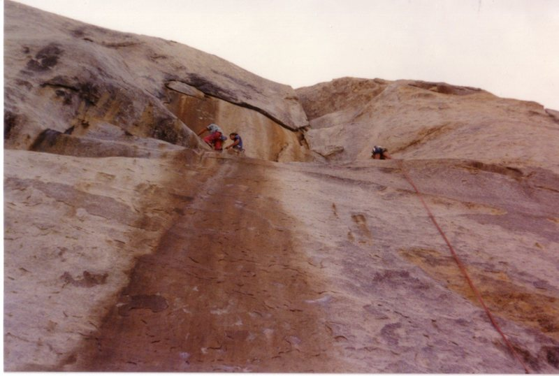 Upper part of P1, looking towards the belay. March 1990.
