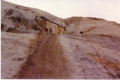 Rock Climbing Photo: Upper part of P1, looking towards the belay. March...