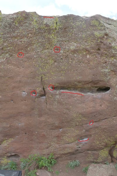 Rock Climbing Photo: Red marks handholds.