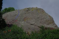 Rock Climbing Photo: Red marks definite holds, blue is how to finish.