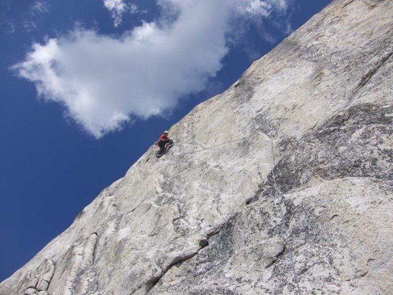 Alpine sport wanker at the 5th bolt on Mega Bleam.