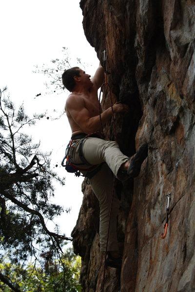 Rock Climbing Photo: Davids Castle Wall  Garrett DeBruin leads Two Step...